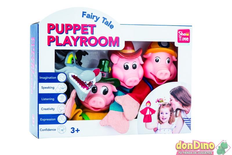 Caja 4 marionetas los 3 cerditos