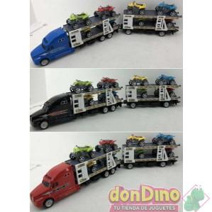 Camion c/remolque porta 8 quad 1:48