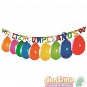 Guirnalda feliz cumpleaños + globos
